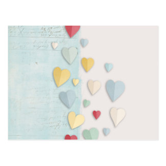 Blue white Background Folded Hearts Postcard