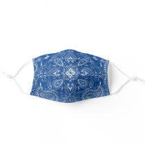Blue White Bandana Paisley Pattern Print Cool Cloth Face Mask