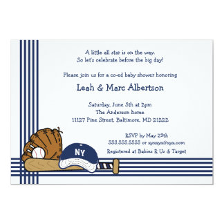 Blue & White Baseball Baby Shower / Birthday party Personalized Invitation