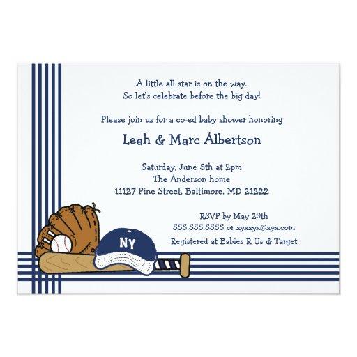 Blue & White Baseball Baby Shower / Birthday party Personalized Invitation