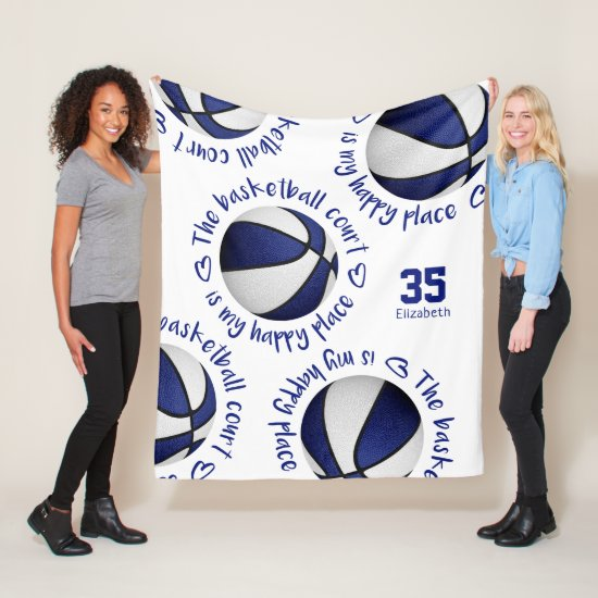 blue white basketball court my happy place sports fleece blanket