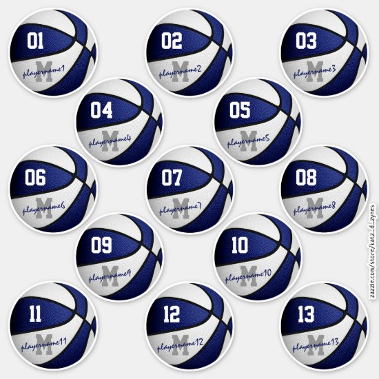 blue white basketball custom players names sticker