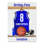 Blue White Basketball Jersey Birthday Party 5x7 Paper Invitation Card