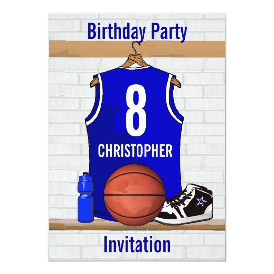 Blue White Basketball Jersey Birthday Party Invitation