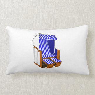 Blue & White Beach Chair Theme Throw Pillow
