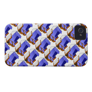 Blue & White Beach Chairs Themed iPhone 4 Case