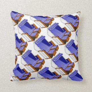 Blue & White Beach Chairs Themed Throw Pillow