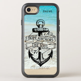 Blue White Beach Hope Anchors The Soul Quote OtterBox Symmetry iPhone 8/7 Case