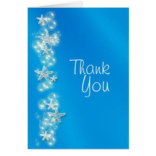 Blue white beach starfish thanks card