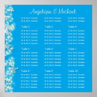 Blue white beach starfish wedding engagement posters