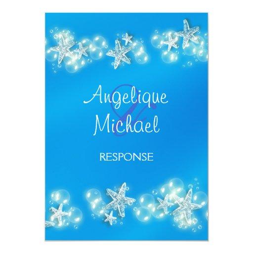"Blue white beach starfish wedding 5"" x 7"" invitation card"