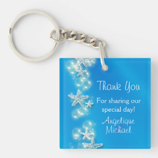 Blue white beach starfish wedding keychain