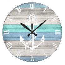 Blue & White Beach Wood Nautical Stripes & Anchor Large Clock