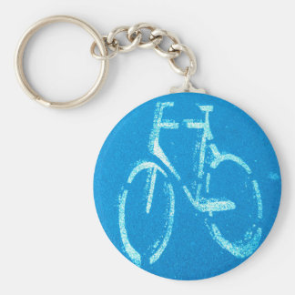 Blue White Bicycle, Cycling Bicycles Sign Keychain
