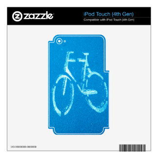 Blue White Bicycle,  Cycling Bicycles Sign Skins For iPod Touch 4G