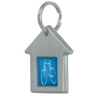 Blue White Bicycle Pet Name Tag