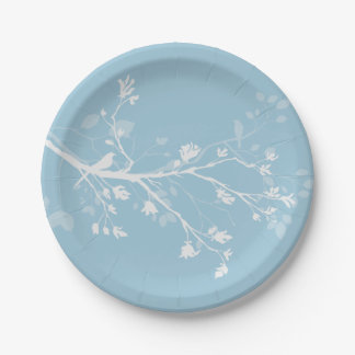 Blue White Bird Branches Paper Plate