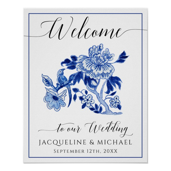 Blue White Bird Chinoiserie Floral Welcome Wedding Poster