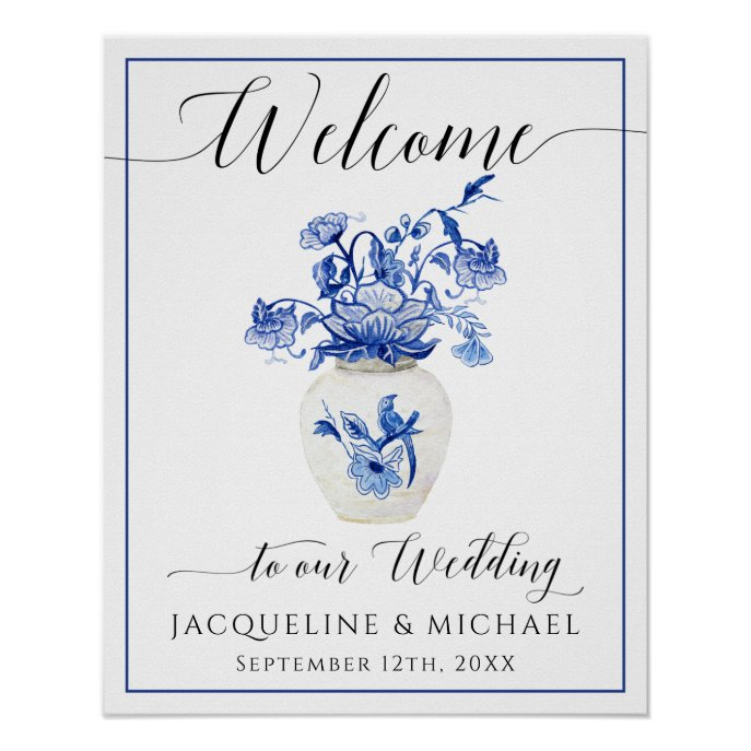 Blue White Bird Floral China Vase Welcome Wedding Poster