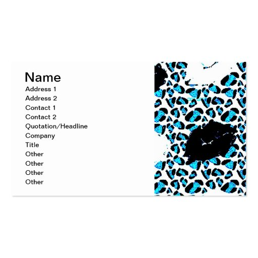BLUE WHITE BLACK ANIMAL PRINT LIPS KISSES Double-Sided STANDARD BUSINESS CARDS (Pack OF 100)