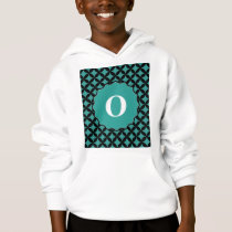 Blue White Black Aqua Monogram Pattern Hoodie