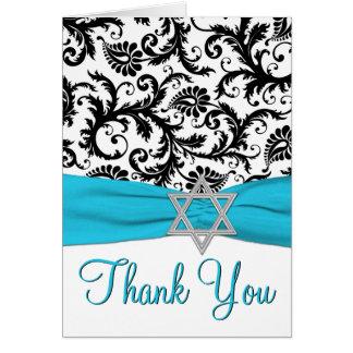 Blue, White, Black Bat Mitzvah Thank You Note Card Greeting Cards