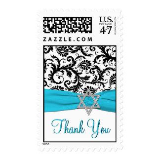 Blue, White, Black Damask Bat Mitzvah Thank You Postage