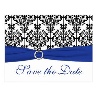 Blue, White, Black Damask Save the Date Card