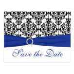 Blue, White, Black Damask Save the Date Card Post Card