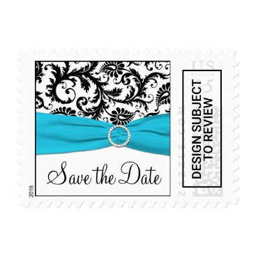 Blue, White, Black Damask Save the Date Postage