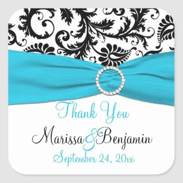 Blue, White, Black Damask Wedding Favor Sticker