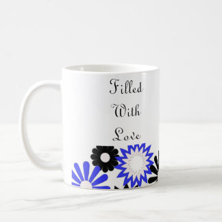 Blue, white & black flowers, filled with love mug. coffee mug