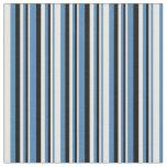 [ Thumbnail: Blue, White & Black Stripes/Lines Pattern Fabric ]