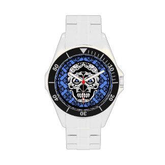 Blue White Black sugar skull damask design Watches