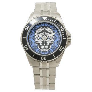 Blue White Black sugar skull damask design Wrist Watch