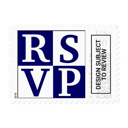 Blue White Block Lettering RSVP Wedding Stamps