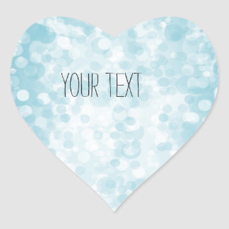 Blue White Bokeh Heart Sticker