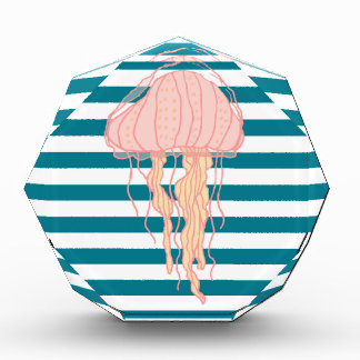 Blue White Bold Stripes Jellyfish Award