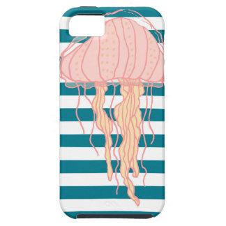 Blue White Bold Stripes Jellyfish iPhone 5 Case