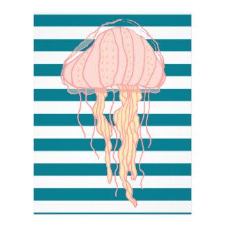 Blue White Bold Stripes Jellyfish Letterhead