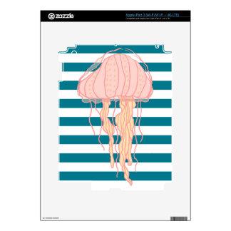 Blue White Bold Stripes Jellyfish Skins For iPad 3