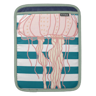 Blue White Bold Stripes Jellyfish Sleeves For iPads