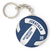 blue white boys' team name volleyball keychain