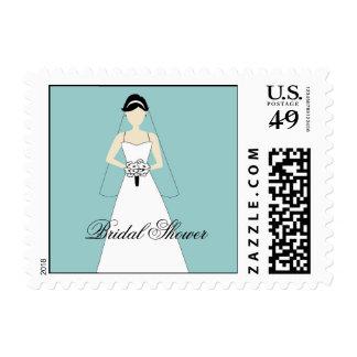 Blue White Bridal Shower Postage Bride Clipart