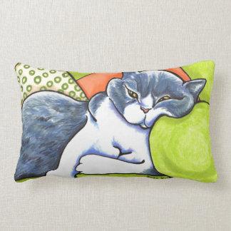 Blue White British Shorthair Cozy Off-Leash Art™ Lumbar Pillow