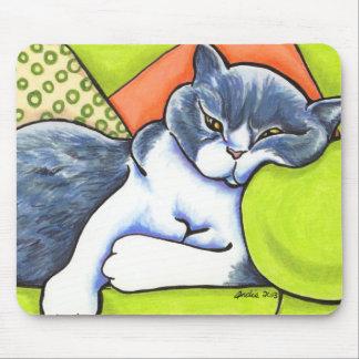 Blue White British Shorthair Cozy Off-Leash Art™ Mouse Pad