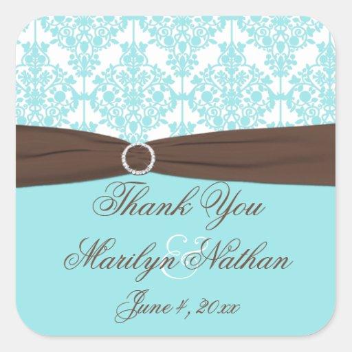 Blue, White, Brown Damask Wedding Favor Sticker