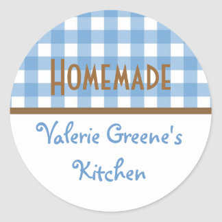 Blue white brown gingham homemade food label seal classic round sticker
