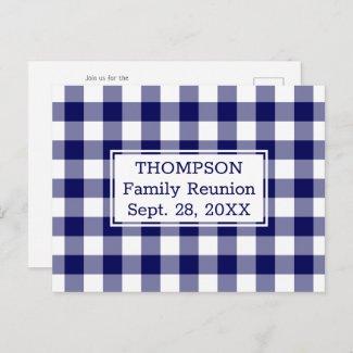 Blue White Buffalo Check Name Family Reunion Party Invitation Postcard