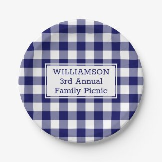 Blue White Buffalo Check Your Name Family Picnic Paper Plate